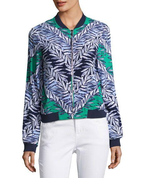 Leaf-Print Bomber Jacket, Green/Blue