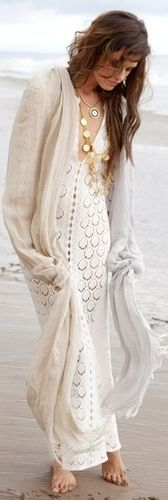 Romantic White Maxi Boho Crochet Dress