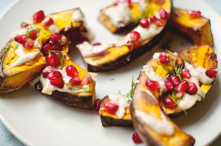 Kabocha with Miso Tahini Dill Sauce, Pomegranate, and Walnuts | Hungry ...