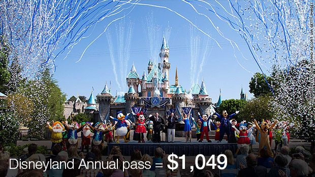Disneyland annual pass with no blackout dates now costs $1,049, while top Disney World pass upped to $829.