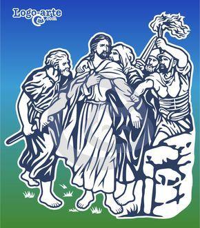 """Estación 2 del Via crucis actual: Es el momento en que Judas Iscariote besa a Jesús y los soldados le apresan, mientras Pedro se apresta a desenvainar su espada para defenderlo. Esta escena es conocida como """"El beso de Judas""""."""