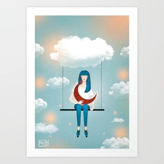moon, sky, illustration, clouds, surreal, conceptual, dream
