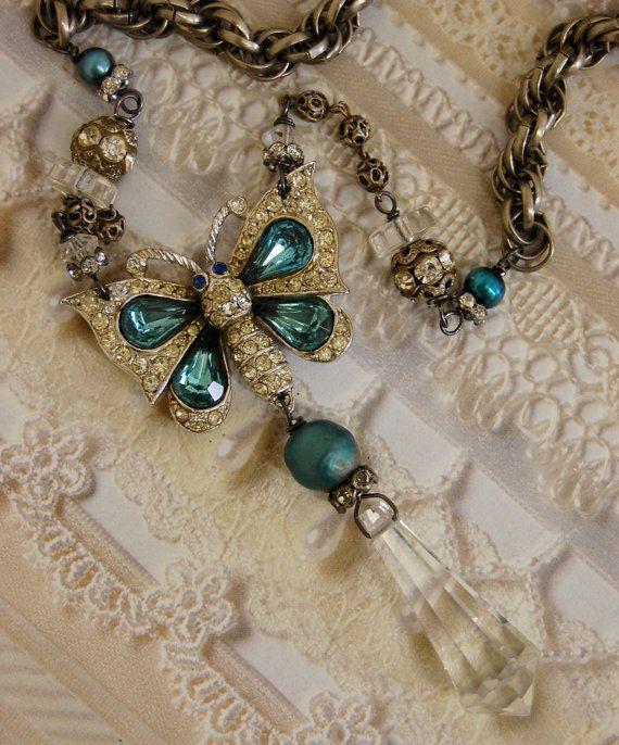 Kristallijn Butterfly-antieke Vintage strass vlinder Assemblage ketting