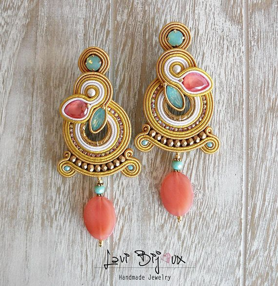 Soutache Earrings, Handmade Earrings, Hand Embroidered, Soutache Jewelry, Handmade from Italy, OOAK --------------------------------------- Earrings handmade by me with soutache embroidery technique. ITEM DETAILS: -Colors: yellow, coral, pacific opal, gold. -Materials: soutache