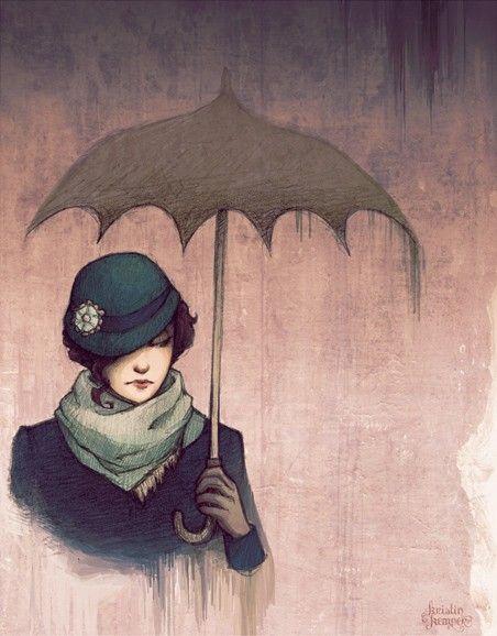 drawing by kecky.Hats, Rainy Day, Illustration, Art Prints, Umbrellas Art, Kristin Kemper, Painting, Drawing, Winter Rain