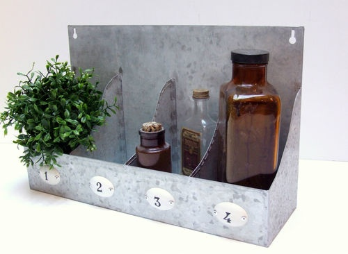 Industrial Chic Galvanized Metal Wall Shelf With Numbers