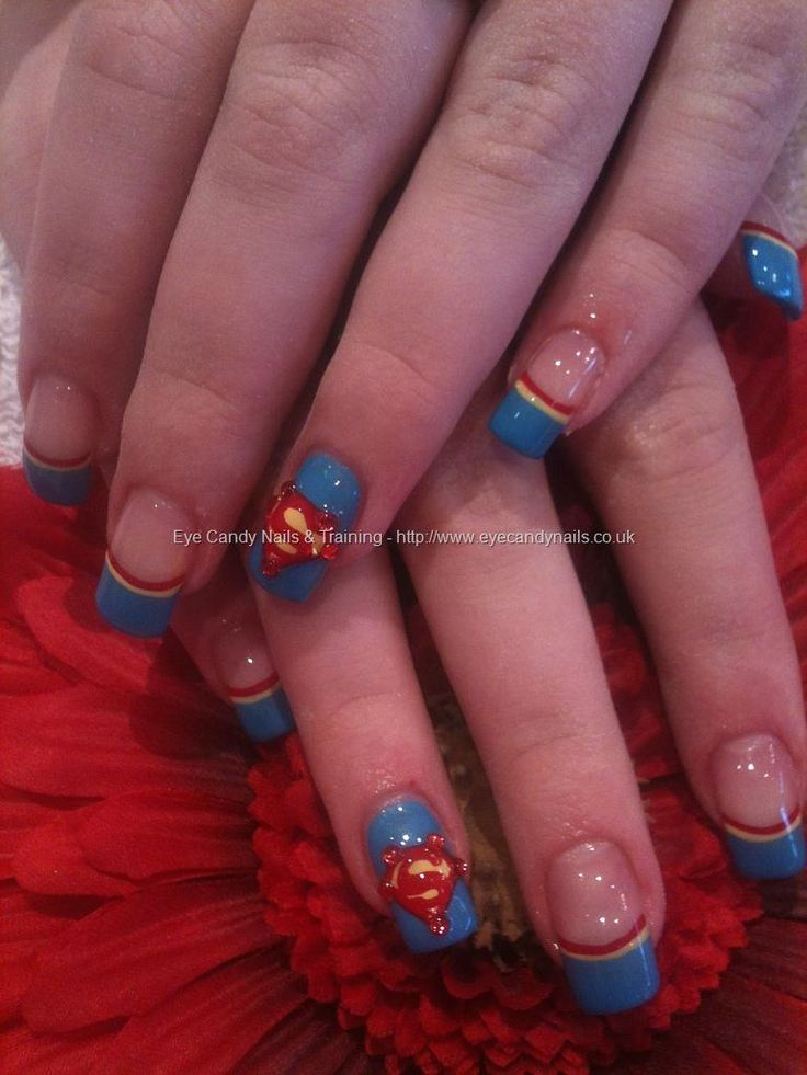 Superman freehand nail art- I think I can do without the stones