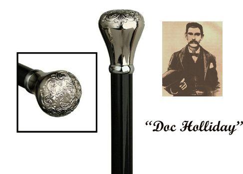 Walking Canes and Walking Sticks | The Walking Cane Store | Walking Sticks - Doc Holliday Embossed Chrome Knob Walking Stick HS-9138900