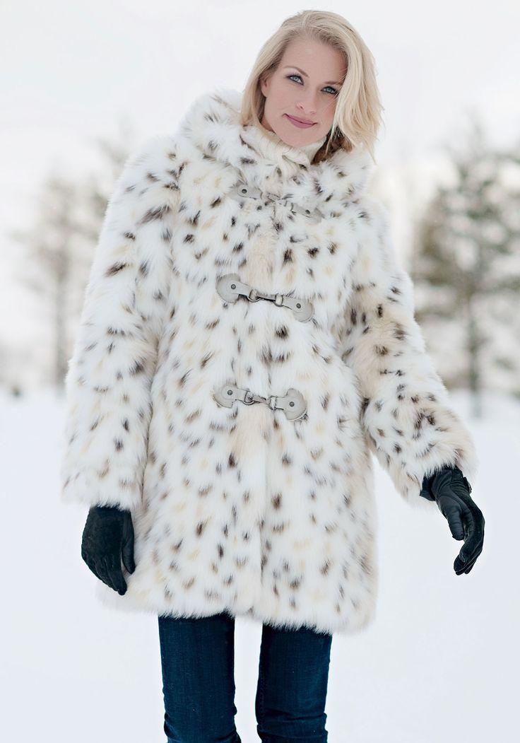 Snow Leopard Hooded Faux Fur Coat, Snow Leopard Fake Fur Coat