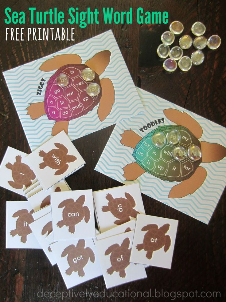 Relentlessly Fun, Deceptively Educational: Sea Turtle Sight Words Game {free printable}