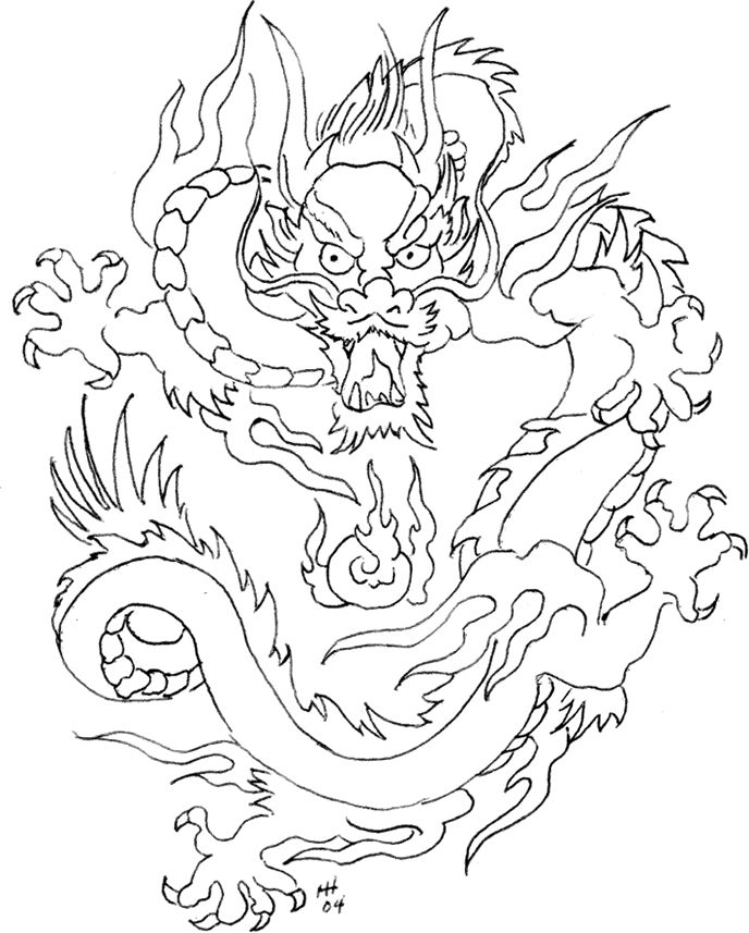 Chinese Dragon front view | Chinese Dragon Face Drawings Chinese dragon printable