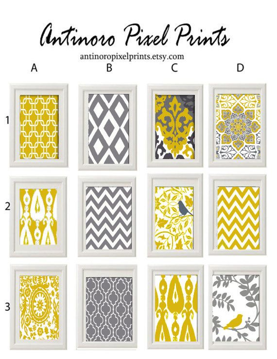 Yellow Grey Wall Art Prints -Pick Any (3) Any Color - 5x7 Prints -  Dark Yellow Greys White  (UNFRAMED)