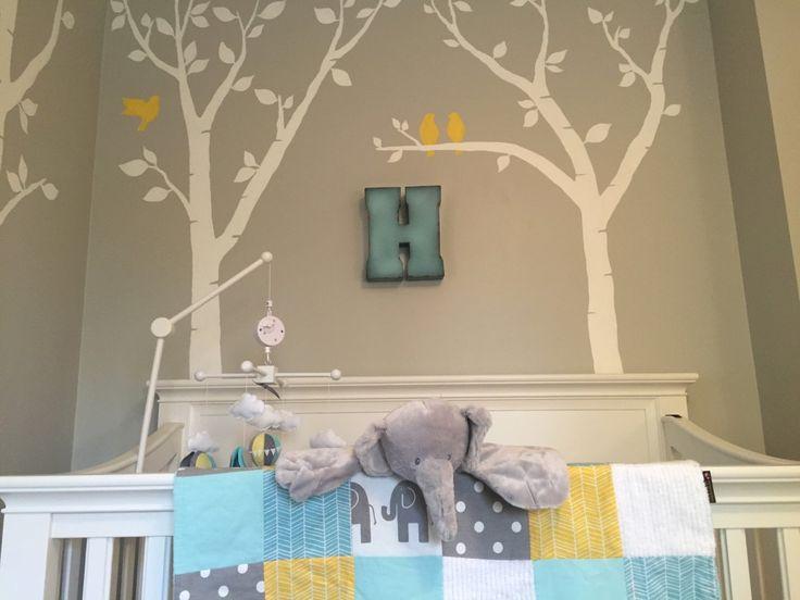 Aqua yellow gray elephant nursery. Gender neutral. Baby boy