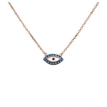 Ένα μοντέρνο κολιέ μάτι από ροζ χρυσό Κ9 με γαλάζια σειρέ ζιργκόν και λευκό με μαύρο σμάλτο σε γυαλιστερό φινίρισμα | Κολιέ ΤΣΑΛΔΑΡΗΣ στο Χαλάνδρι #μάτι #γαλάζιο #χρυσό #κολιέ
