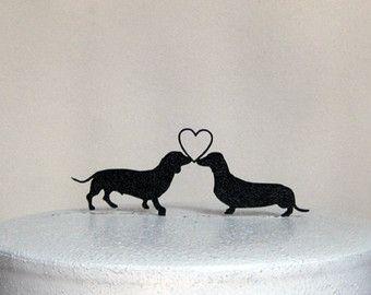 Bruidstaart Topper - Teckel honden bruiloft