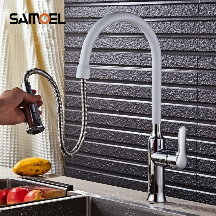 White Pull Out Kitchen Faucet Bathroom Mixer Tap Deck Mounted Swivel Spout Stream Sprayer Lead-free Shower Mixer Tap torneira