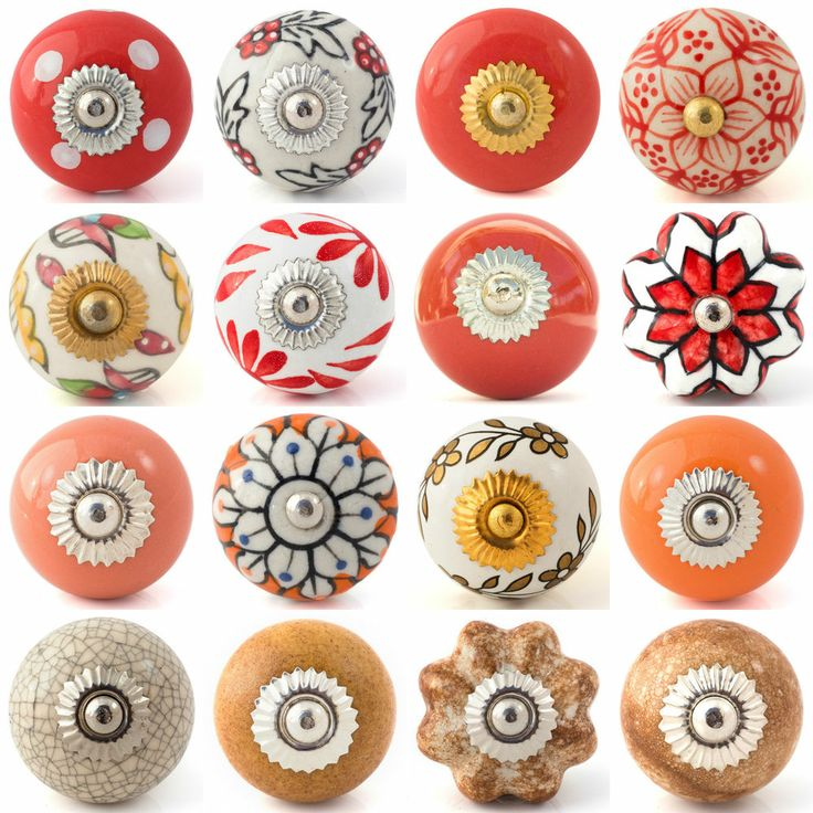 Red brown gold ceramic knobs drawer pulls cupboard door knobs porcelain china