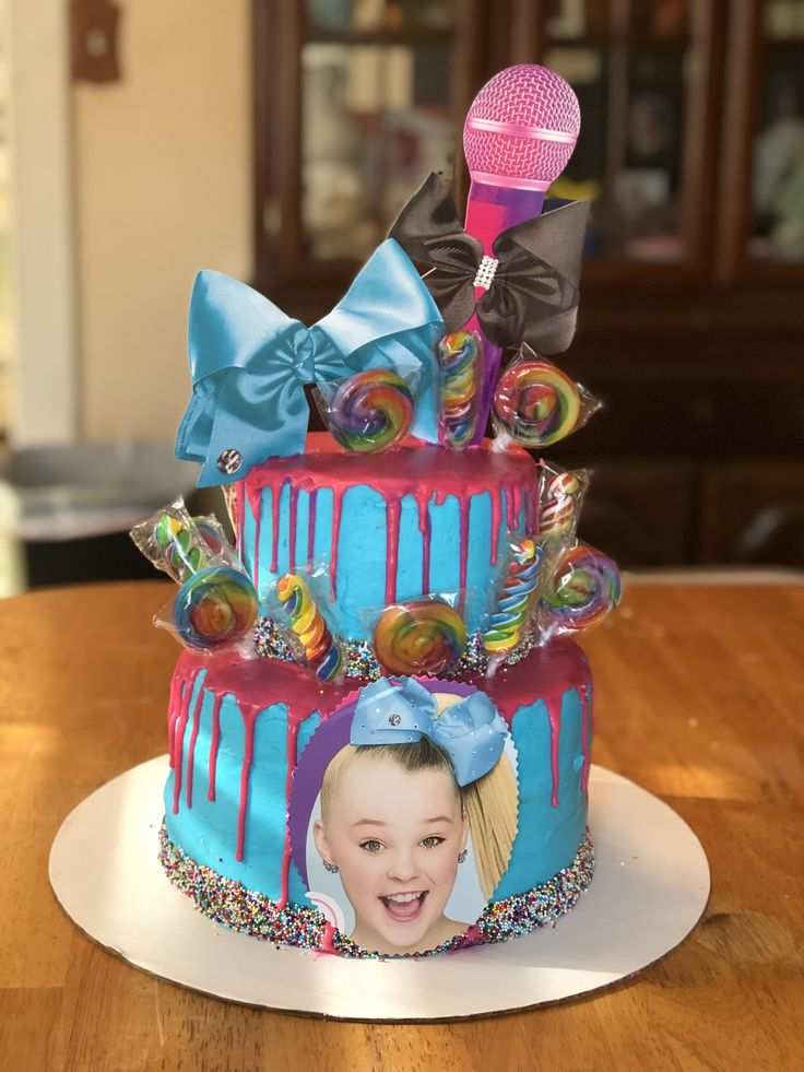 JoJo Siwa birthday cake I made for my nieces 4th birthday