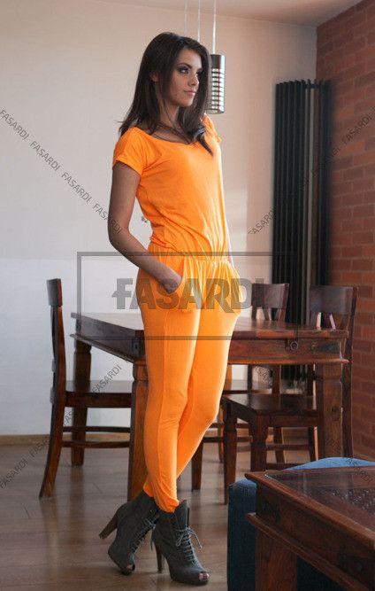 Kombinezon pomarancz neon | NOWOŚCI Odzież damska \ kombinezony WYPRZEDAŻ
