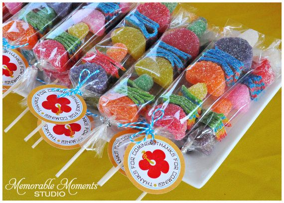 PRINTABLE FAVOR TAGS Luau or Tropical Pool Party - Thanks for Coming Candy Kabobs - Memorable Moments Studio