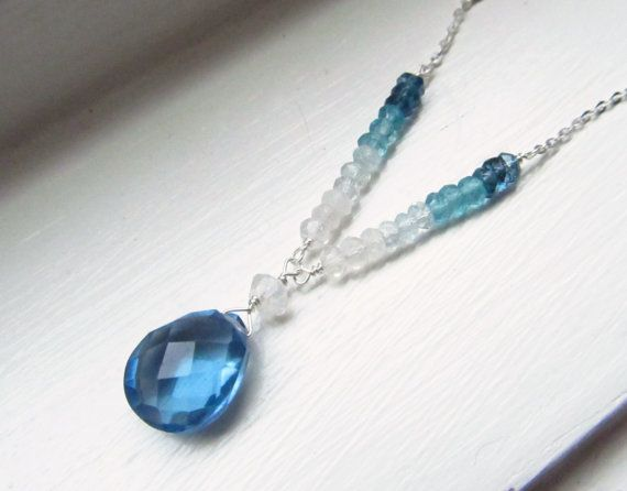 Topaz quartz necklace blue ombre sterling silver by WynnDesign