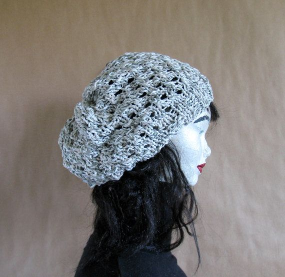 Knit iwory/olive lace cotton beanie hat by recyclingroom on Etsy, $28.99