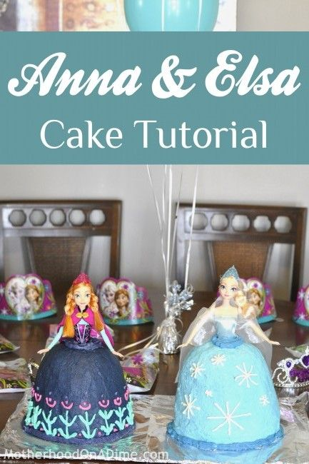 Such adorable cakes to make for a #Frozen party!  This Anna and Elsa cake tutorial will show you how to do it.