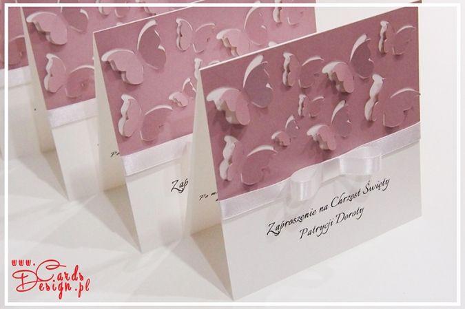 Śliczne zaproszenie / kartka z motylami 3D /// cards with butterfly