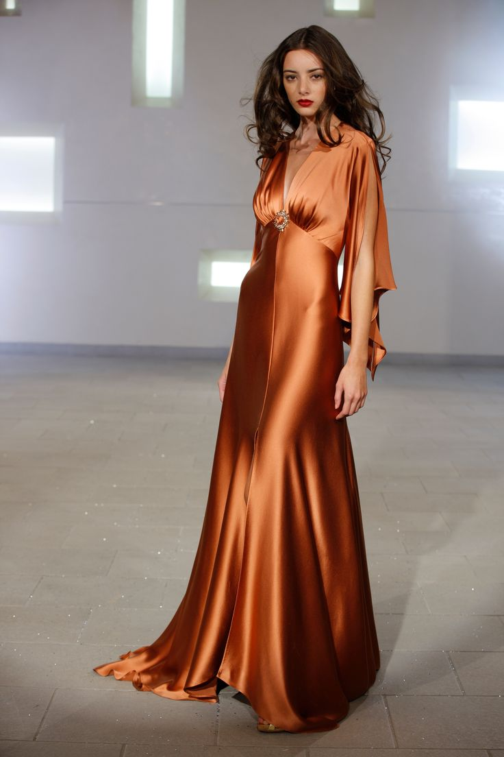 Copper charmeuse silk gown from Marc Bouwer Couture NYC Fashion week