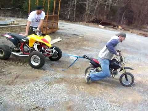 50cc dirt bike pulling off a yfz450