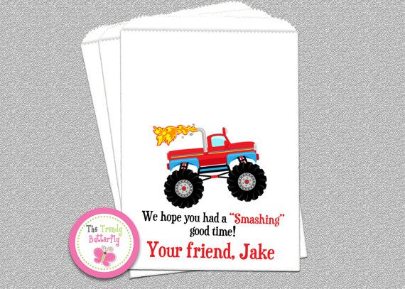 Monster Truck  Birthday Party Favor Bags by The Trendy Butterfly