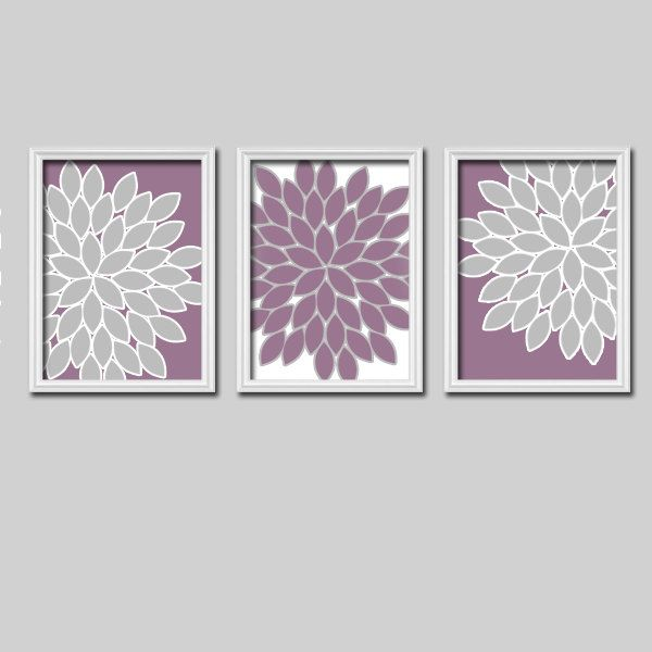 Bright Colorful Flowers Floral Purple Lavender Grey by trmDesign, $25.00