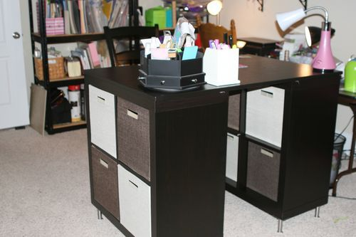 ... counter height Craft Table (from 2 shelves, a table top, and 8 legs