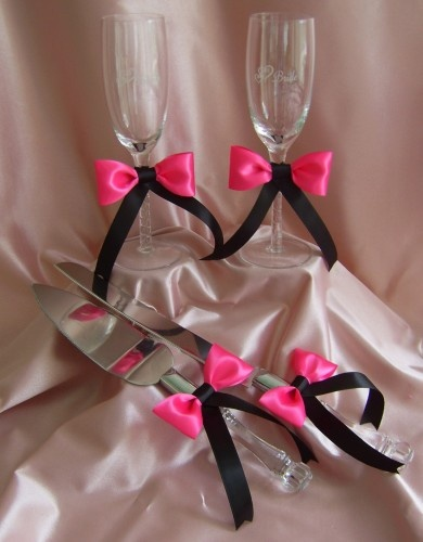Hot Pink and Black Wedding 12pc Ensemble