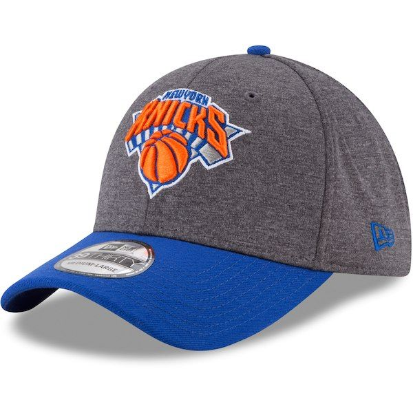 613957d918a64 Men s New York Knicks New Era Heathered Gray Blue 39THIRTY Flex Hat ...