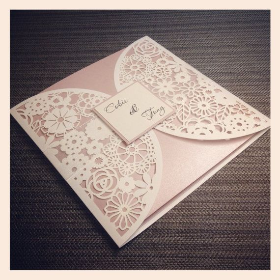Floral Paper Lace Wedding Invitation Laser by StunningStationery