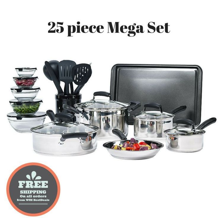 25-Piece Essential Stainless Steel Mega Cookware Set Pots And Pans Kitchen Bowls | eBay