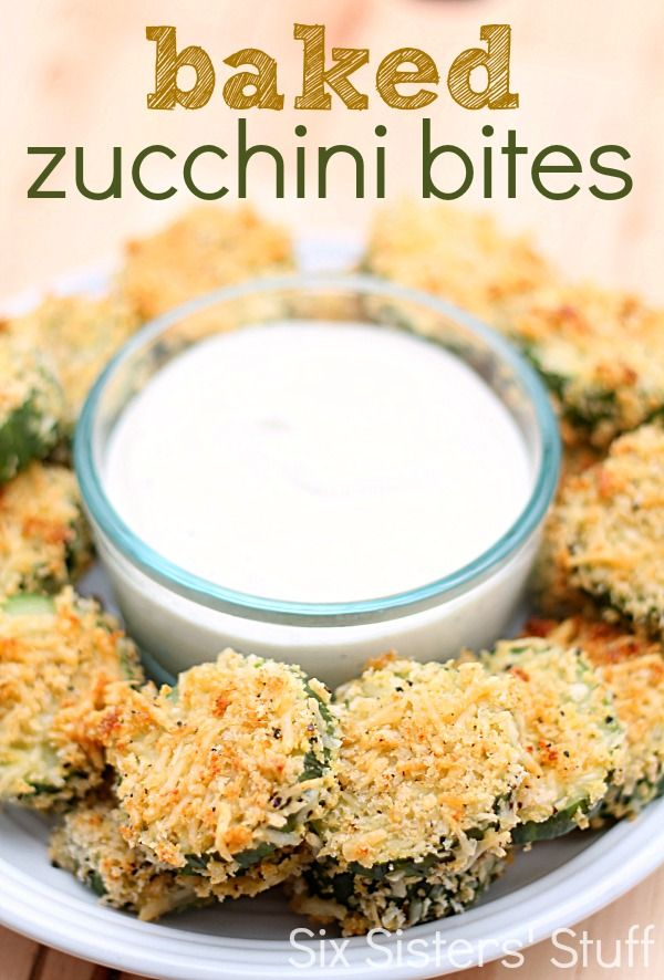 Baked Zucchini Bites Recipe from SixSistersStuff.com.  These zucchini bites are easy to make and are a perfect appetizer or side dish! #sixsistersstuff