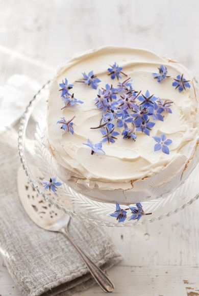 white frosting with flower buds