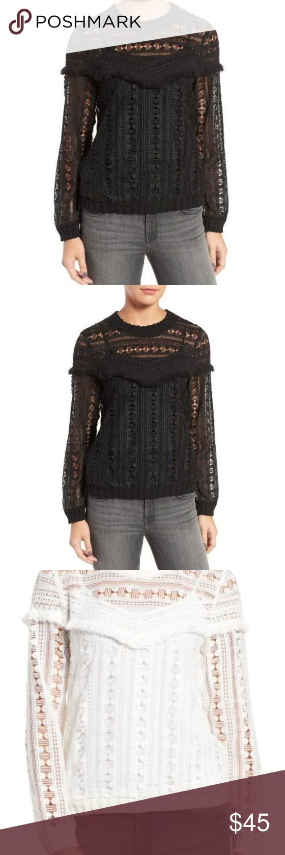"""Trouve Sweater Trouve Fringe Lace Sweater in black. Brand new with tags attached.  Details & Care Show off glimpses of skin in this crocheted lace top with subtle fringe trim for definite feminine appeal. 24"""" length (size Medium) Crewneck Long sleeves with ribbed cuffs Sheer; base layer recommended 100% polyester Hand wash cold, dry flat Imported t.b.d. Item #5260860 Trouve Sweaters"""