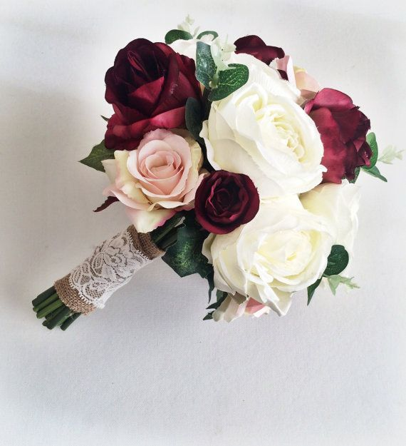 ARTIFICIAL ROSE BURGUNDY BOUQUET BRIDES WEDDING