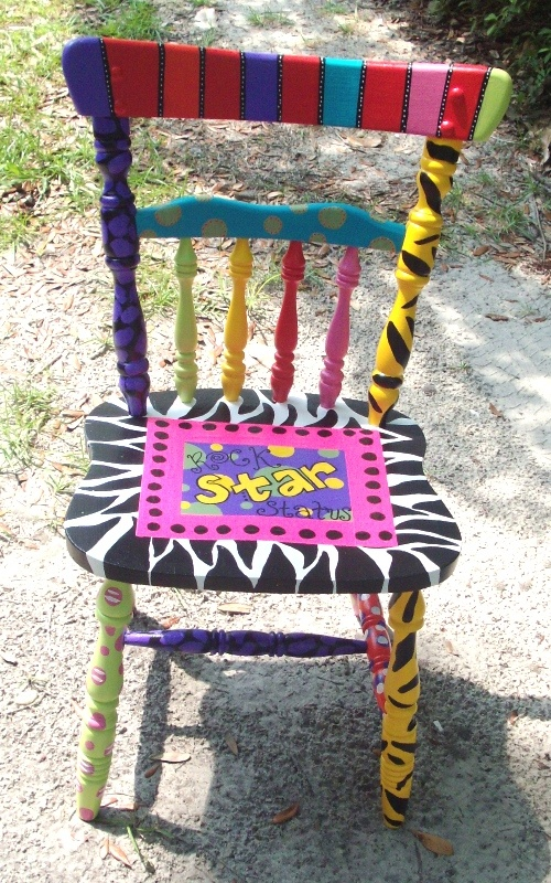 Creative chair...rock star chair for kindergarten room!