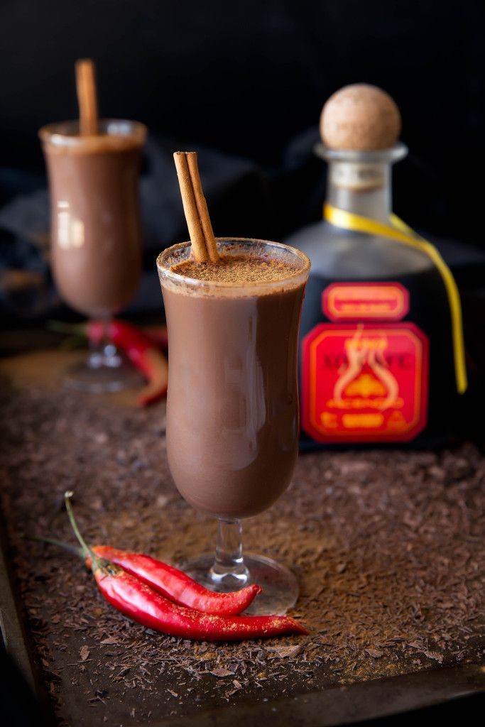 Hot Chocolate del Diablo: a decadent boozy hot cocoa made with chocolate chili tequila for a kick of spice!