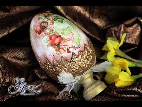 Decoupage Tutorial: Easter Egg with Clay Shell - DIY