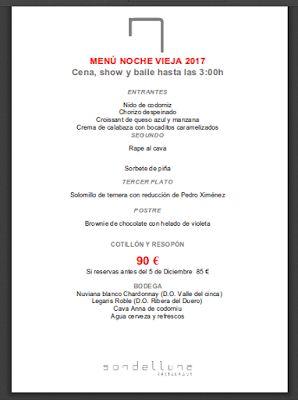 Sondelluna, restaurante ubicado en la calle Lérida, 14 de Valencia (Barrio Sagunto), nos propone una cena divertida para despedir este 2017 y dar la bienvenida al 2018.