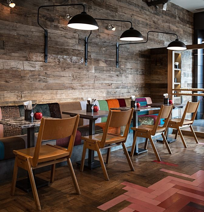 Tile and wood flooring.. - Restaurant & Bar Design Awards
