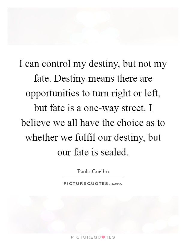 I Can Control My Destiny But Not My Fate Destiny Means There Are