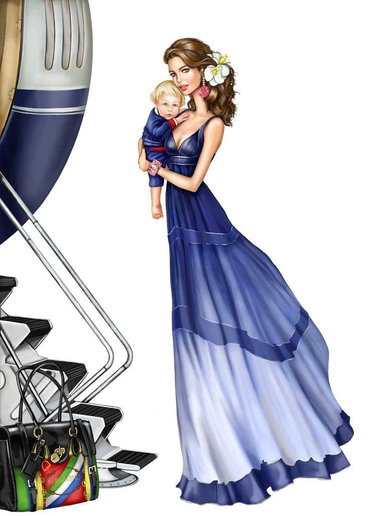 Girl Illustration, Mum. Long Dress. Travelling / Illustrazione Ragazza, mamma. Abito lungo. In Viaggio. - Art by Pergamino