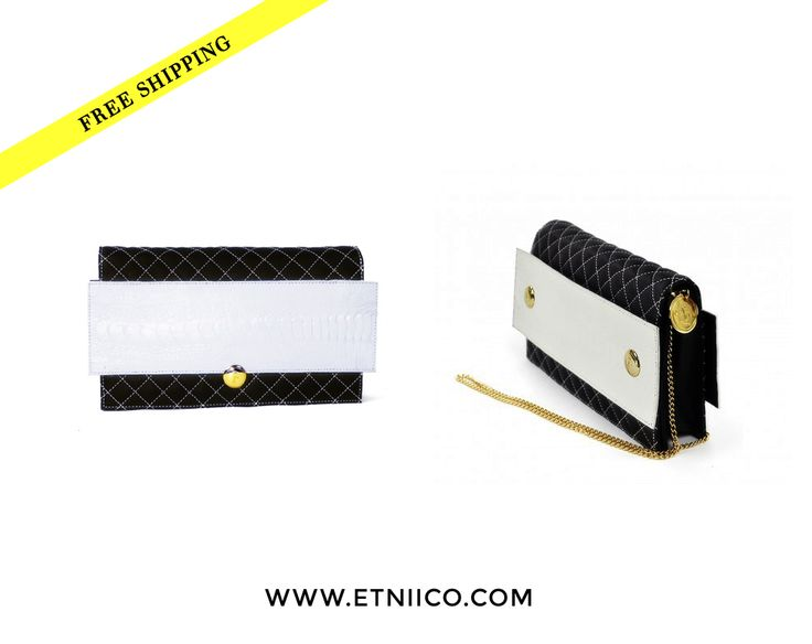 TREND: Black & White.  These two colors look stunning when are perfectly matched. FABRÈS shows us how.  Shop Now with FREE SHIPPING: http://bit.ly/1IhVRfe  #Fashion #Style #Handbag #bag #fashionistas #clutch #purse #woman #etniico