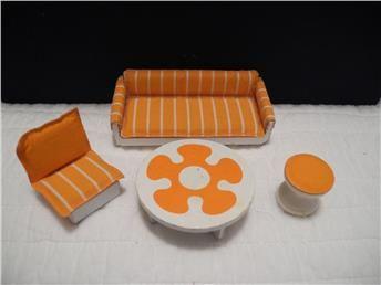 Lundby dockskåp möbelset soffa,fåtölj och bord orange/vit
